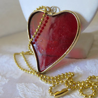 Necklace Red Heart Glass Silver Soldered