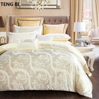 100%CottonLuxury Silk Bedding Set Embroidery Bed Linens Tencel Satin Bed Sheet Set Jacquard Bedclothes Queen/King Size Bed cover