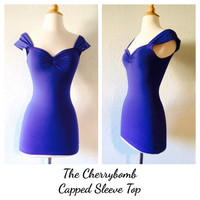 Rockabilly PERIWINKLE Purple Capped Sleeve Pin Up Top, Electric Purple Rock n Roll 1950s a Style Pinup Top, Off the Shoulder Sexy