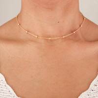 Delicate Gold Necklace - Satellite Bead Necklace - Dainty Gold Choker - Dew Drop Necklace - Boho Jewelry - Layering Necklace