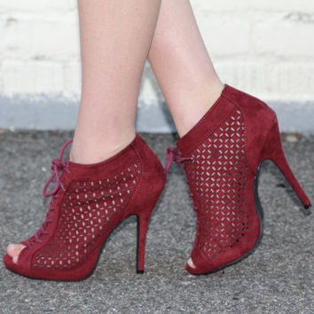 """""""Bridget"""" Cut Out Detailing Lace Up Peep Toe Booties - Wine"""