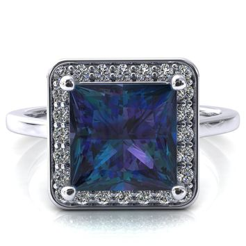 Holly Princess Alexandrite 4 Prong Pinpoint Floating Halo Scalloped Cathedral Ring