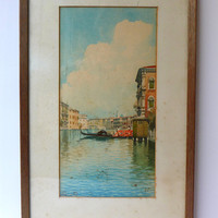 ON SALE Vintage original 1920s watercolour painting Gondola in Venice