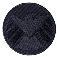 Velcro Avengers logo Eagle BLACK iron man shield Cap backpack Patch [2.5 Inches]