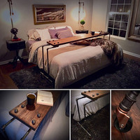 NETFLIX & CHILL Rolling Over-The-Bed Table - Laptop Lap Desk TV Food Bedside Table