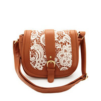 FAUX LEATHER & LACE CROSS-BODY SADDLE BAG