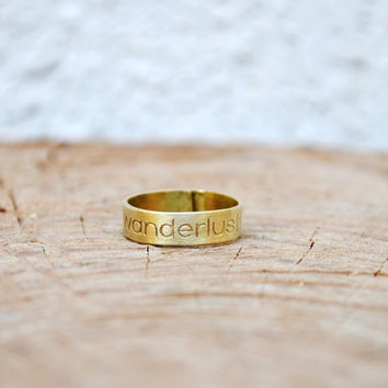 """Wanderlust Ring / Travel Ring / Thumb Ring / Travel Gift / Personalized Jewelry / Handmade Adjustable Ring With """"Wanderlust"""" Engraving"""