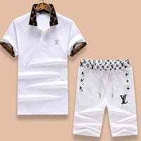 Louis Vuitton Popular Casual LV Letter Embroidery Shirt Top Tee Shorts Suit Two-Piece White