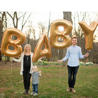 """FREE SHIPPING Baby Balloon Set, 40"""" Gold Foil Letter & Number Balloons"""