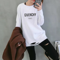 """""""Givenchy""""Woman Casual Fashion Letter Pattern Wild  broken Hole Long Sleeve  T-shirt Tops"""