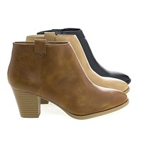Zenith By Classified, Pointy Toe Zip Up Block Heel Ankle Boots