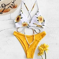 Sunflower Print Triangle Thong Bikini Swimsuit
