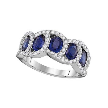18k White Gold Oval Blue Sapphire Diamond Band Ring 2-3/8 Cttw