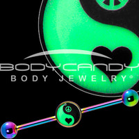 Glow in the Dark Yin Yang Peace Heart Industrial Barbell in Rainbow Titanium | Body Candy Body Jewelry
