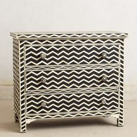 Chevron Inlay Dresser by Anthropologie in Black & White Size: One Size Furniture