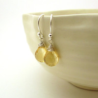 Silver citrine earrings, November birthstone jewelry, sterling silver wire wrapped earrings, citrine jewelry, pale yellow gemstone earrings