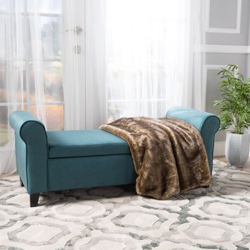Darrington Armed Fabric Storage Ottoman Bench