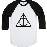 Deathly Hallows Baseball Tee-Unisex White/Black T-Shirt