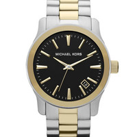 Michael Kors Silver Color and Golden Stainless Steel Runway Three-Hand Watch