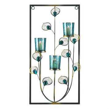 Candle Sconces Peacock Three Candle Wall Sconce