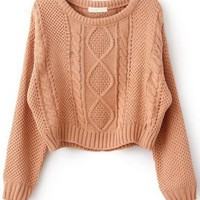 Fast Shipping World Wide Pink Long Sleeve Cable Knit Pullover Sweater