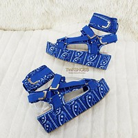 "Bandana 2"" Platform Harness Strap Sandal Shoes US 6-11 Blue Bandanna"