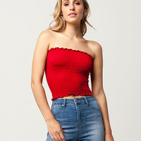 SKY AND SPARROW Smocked Womens Tube Top | Knit Tops + Tees