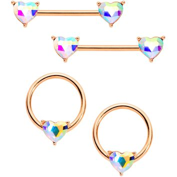 "9/16"" 1/2"" Aurora Gem Rose Gold Tone Heart BCR Barbell Nipple Ring Set"