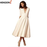 Women's Fashion Spring Dress High Waist Half Sleeve Knee- Length Bohemian Maxi Dress Ladies Elegant A-Line Party Dress Female