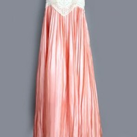 1910's Peach Silk & Crochet Pleated Dress - M ANTIQUE VINTAGE CROCHET & SILK DRESSES & LINGERIE :