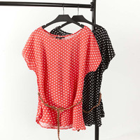F11 Summer Casual Women T-shirt Plus Size Woman Clothes batwing sleeve Loose Polka Dot rayon Tops Fashion Tees with Belt