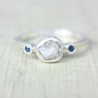 Rough Diamond Ring Blue Sapphire Sterling Silver Raw Diamond Engagement Ring Size 5,5-6,5US Silversmithed Metalsmithed