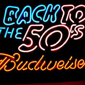 """Budweiser Beer Back to the 50's Real Glass Tube Beer Bar Neon Light Sign 16""""x 10"""" [High Quality]"""