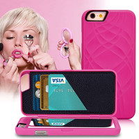 Fashion Lady Mirror Dual Layer Case For iPhone 6 6S 4.7 Flip Cases PU Leather Card Slot