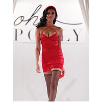 fhotwinter19 Women's new sexy tight-fitting V-neck cross-shoulder strap bag hip suspender skirt
