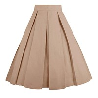 OBBUE Dresstore Vintage Pleated Skirt Floral A-line Printed Midi Skirts with Pockets 1 2