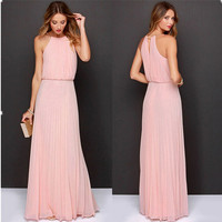 Summer Women Sexy Long Party Dresses 2016 Sleeveless Elegant Casual Pleated Chiffon Maxi Dress Vestido de festa New Plus Size