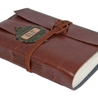 Faux Leather Journal with Bookmark and Initials - Choice of 4 colors