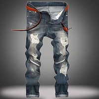 Zipped and Ripped - Men's Custom Damaged Jeans