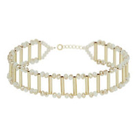 Faceted Bead And Tube Choker - Pink