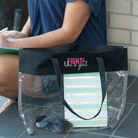 Breast Cancer Awareness - Clear Stadium Tote - Fight Like a Girl