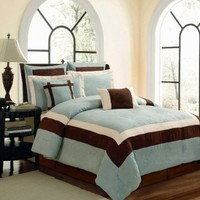8 Piece Elegant BLUE BROWN BEIGE Micro Suede Comforter Set / BED IN A BAG - CAL (California) KING SIZE BEDDING