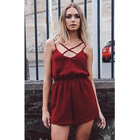 Sexy suspenders chest crossover halter jumpsuit