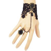 Retro Vintage Vampire Lady Girls Lace Chain Wristband Bracelet With Finger Ring