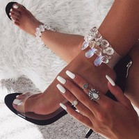 Rhinestone Transparent Fashion Women Sandals High Heels Shoes