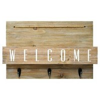 Wood Welcome Mail Station with Hooks - 10x15