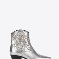 ROCK 40 Cowboy Ankle Boot in Silver Metallic Grained Leather and Silver Python Embossed Leather