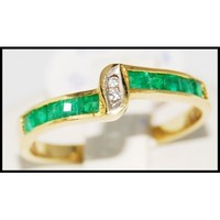 18K Yellow Gold Jewelry Gemstone Emerald Diamond Ring [R0049]