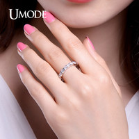 UMODE New Hot Gifts White Gold Color 0.1ct Round Simulated CZ Stone Circle Wedding Eternity Rings Bands Jewelry for Women UR0357