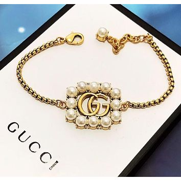 GUCCI Fashion New Letter More Pearl Bracelet Accessories Golden